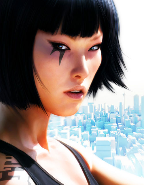 Faith Connors (Mirror's Edge) face closeup with eye tattoo