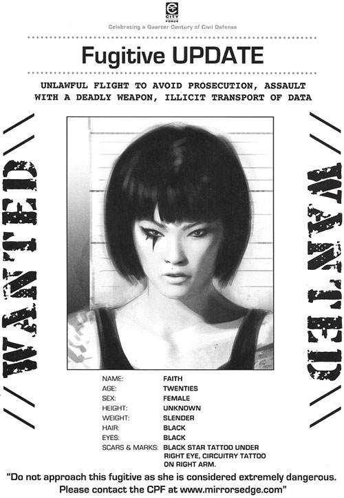 Faith Connors (Mirror's Edge) wanted poster