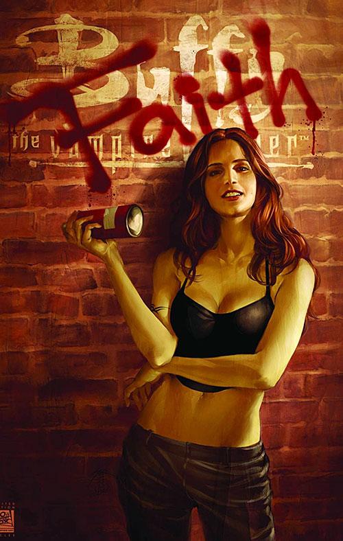 Faith Lehane (Eliza Dushku in Buffy and Angel) smiling paint spray