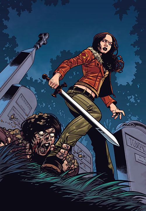 Faith Lehane (Eliza Dushku in Buffy and Angel) with sword, zombie rising