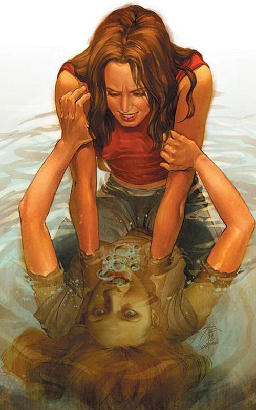 Faith Lehane (Eliza Dushku in Buffy and Angel) drowning Buffy