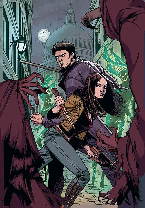 Faith Lehane (Eliza Dushku in Buffy and Angel) and Angel vs. monsters
