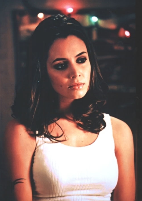 Faith Lehane (Eliza Dushku in Buffy and Angel) white top dark mascara