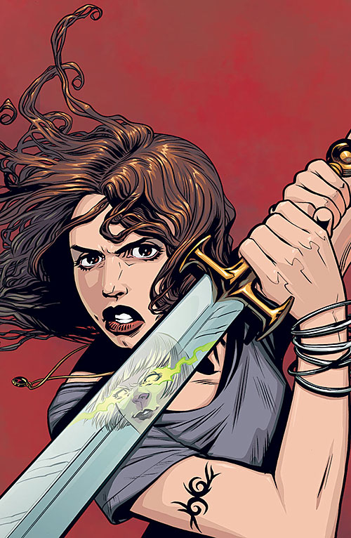 Faith Lehane (Eliza Dushku in Buffy and Angel) defending with a sword