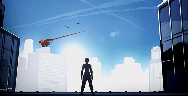 Faith Connors (Mirror's Edge) looks at the city's skyline