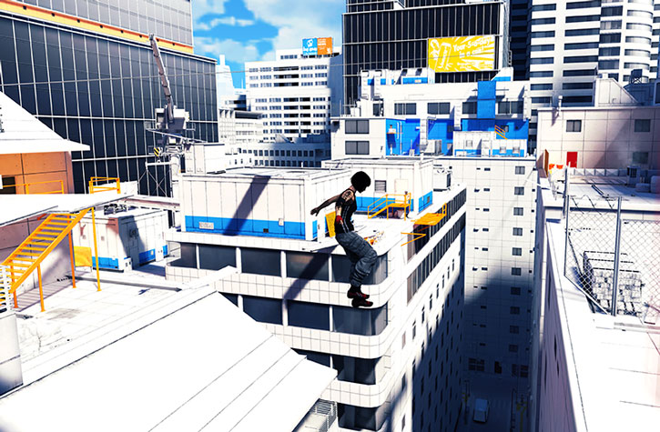 Faith Connors (Mirror's Edge) in mid-leap