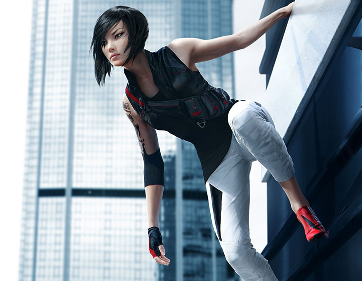Faith Connors (Mirror's Edge) with black shirt and vest