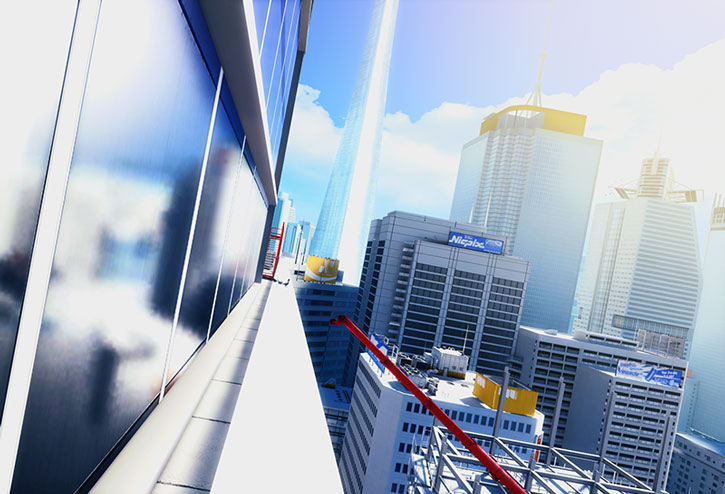 City high ledge view in Mirror's Edge