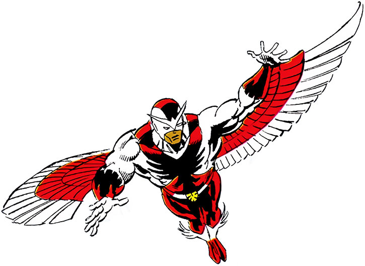 The Falcon (Sam Wilson) with the white, cowled costume