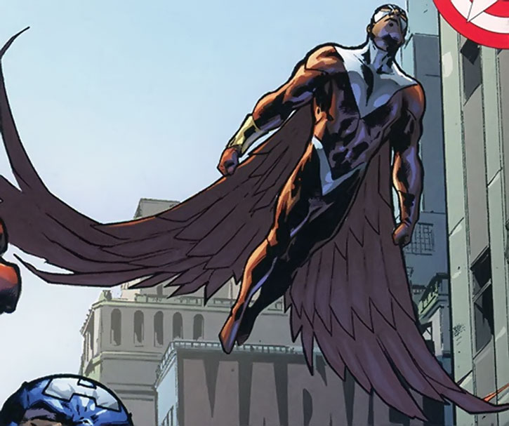 The Falcon (Sam Wilson) flying in the street