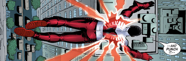 The Falcon (Sam Wilson) activates his hard light wings