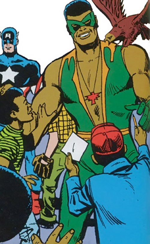 Falcon of the Avengers (Captain America ally) (Marvel Comics) with the green costume and Harlem fans
