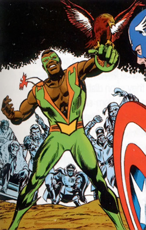 Falcon of the Avengers (Captain America ally) (Marvel Comics) first appearance with the Exiles