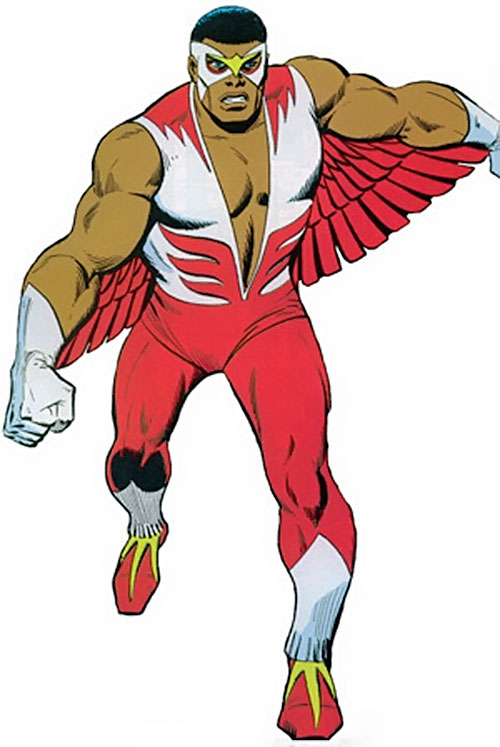 Falcon of the Avengers (Captain America ally) (Marvel Comics) in the classic costume