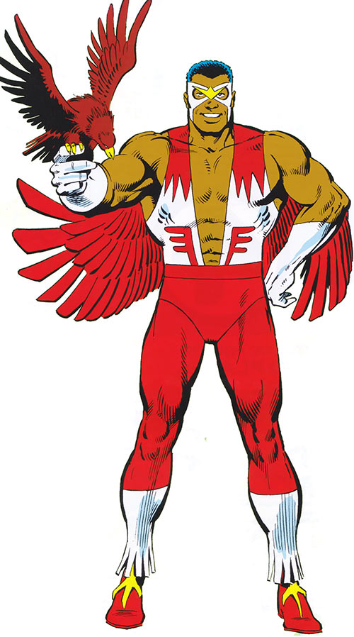 Falcon of the Avengers (Captain America ally) (Marvel Comics) and Redwing from the classic handbook