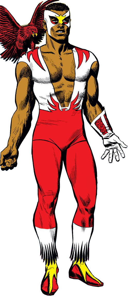 Falcon of the Avengers (Captain America ally) (Marvel Comics) with the old white and red costume and Redwing on his shoulder