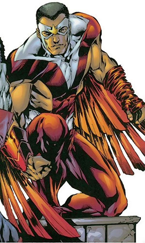 Falcon of the Avengers (Captain America ally) (Marvel Comics) with the exposed arms and flanks costume