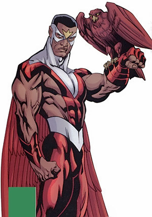 Falcon of the Avengers (Captain America ally) (Marvel Comics) with Redwing perched on his forearm