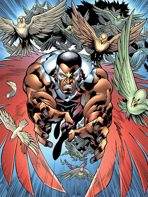 Falcon of the Avengers (Captain America ally) (Marvel Comics) leading a mass of birds