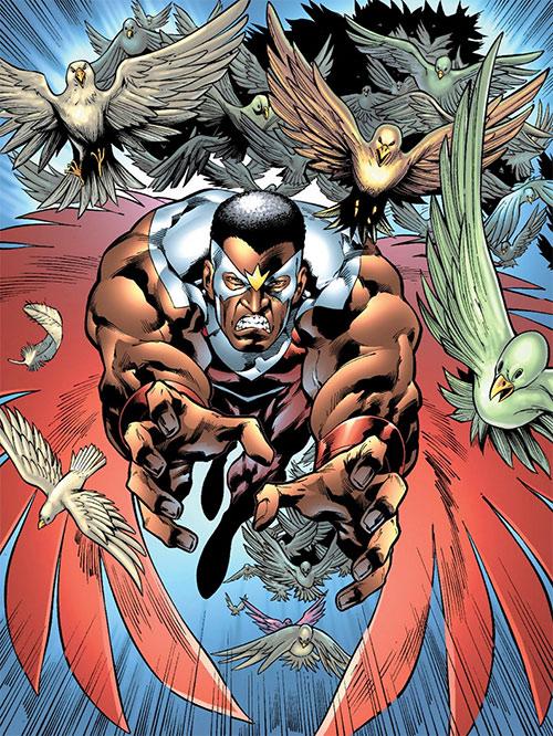 Falcon of the Avengers (Captain America ally) (Marvel Comics) leading a mass of birds
