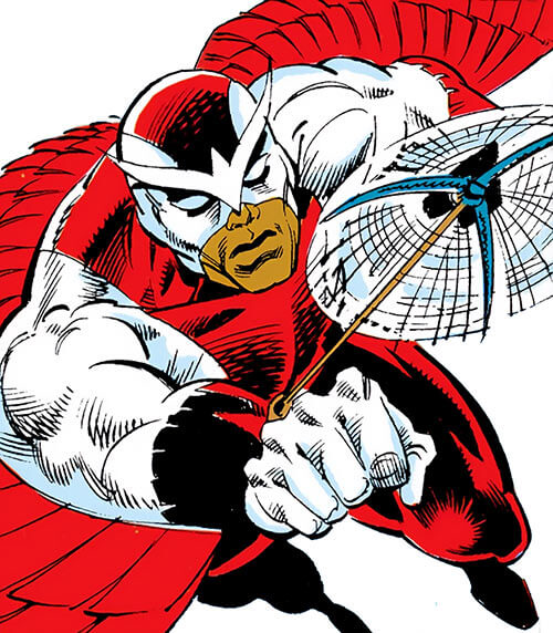 Falcon of the Avengers (Captain America ally) (Marvel Comics) shooting a grapple from a forearm launcher