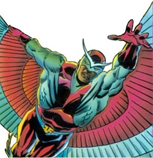 Falcon of the Avengers (Captain America ally) (Marvel Comics) with the cowl and winged brow insignia