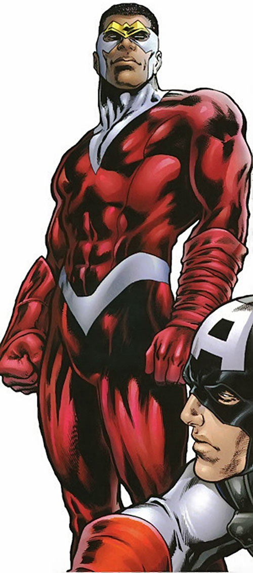 Falcon of the Avengers (Captain America ally) (Marvel Comics) with the mostly red costume