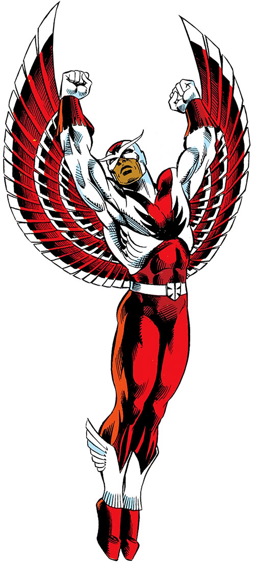 Falcon of the Avengers (Captain America ally) (Marvel Comics) with the cowled costume