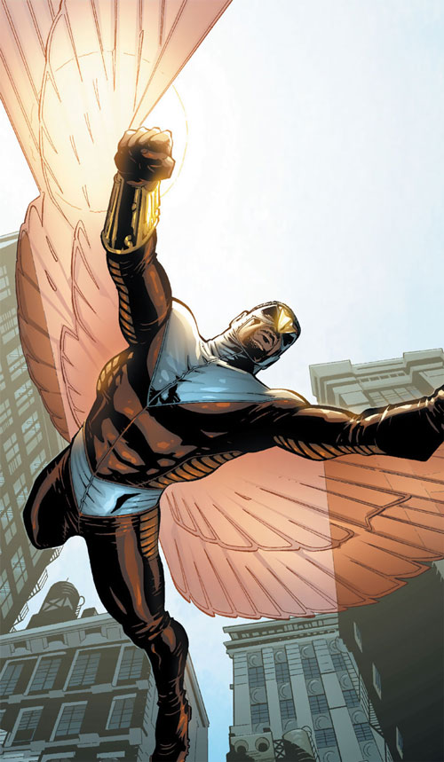 Falcon of the Avengers (Captain America ally) (Marvel Comics) soaring in the city with hard light wings