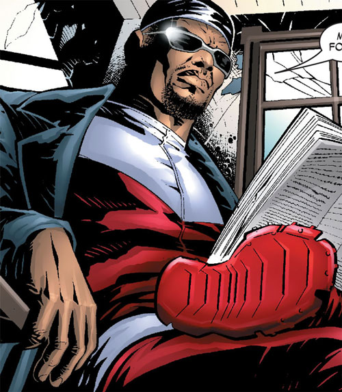 Falcon of the Avengers (Captain America ally) (Marvel Comics) with shades, a bandanna and a scowl