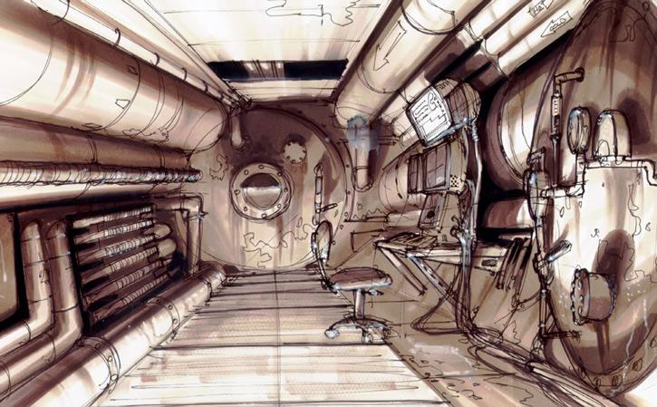 Fallout 1 concept art - vault interior