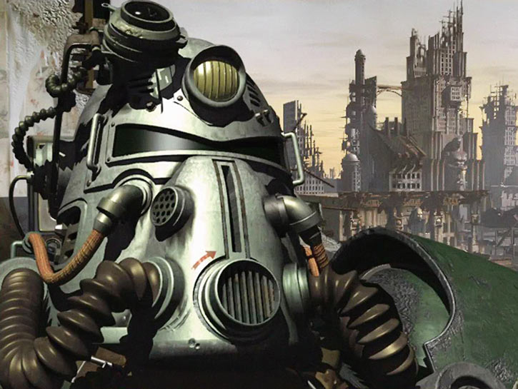 Fallout 1 cover with power armor helmet and ruins