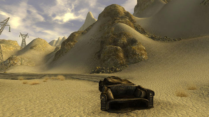 Fallout 1 story mod - burnt car wreck in desert
