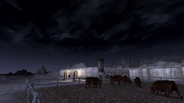 Fallout 1 story mod - brahmins at night near shady sands