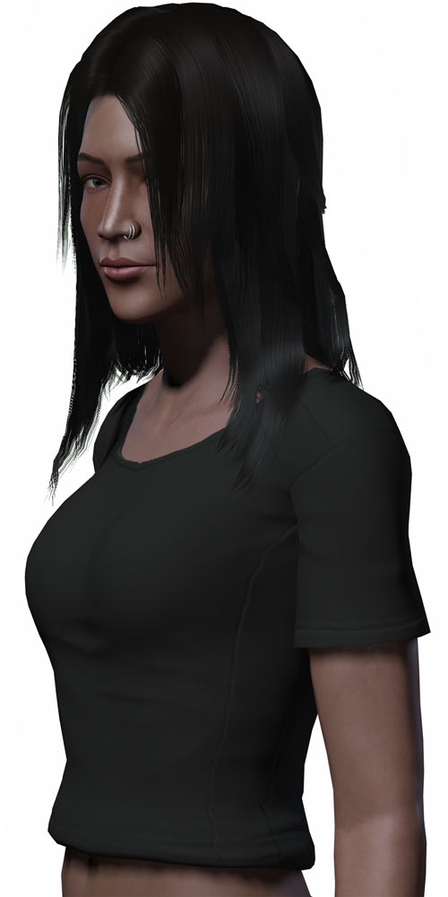 Fallout 2 sample Chose One - Alessa - Nose piercing and slight smirk