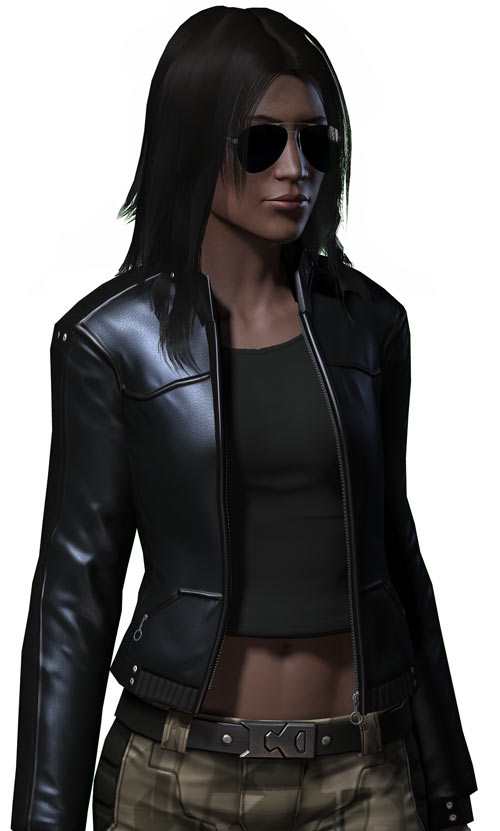 Fallout 2 - Chosen One - Alessa - Leather jacket and sunglasses