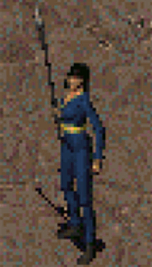 Fallout 2 - Female Chosen One sprite - Spear and Vault 13 jumpsuit