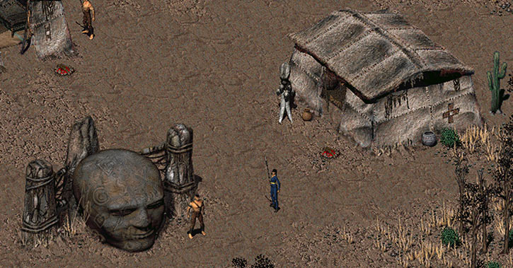 Fallout 2 - the village of Arroyo and its stone head statue
