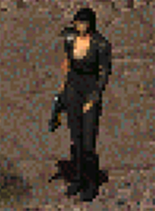Vintage Fallout 2 sprite, female Chosen One in black leather