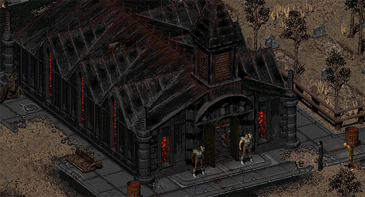 Fallout 2 - The church in The Den and its guards