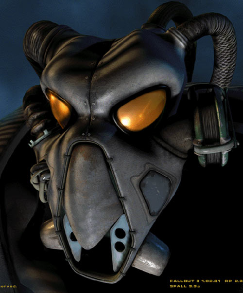 Fallout 2 - face plate of an Enclave power armor suit
