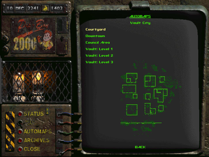 PIP-Boy 2000 (Fallout 2) in mapping mode