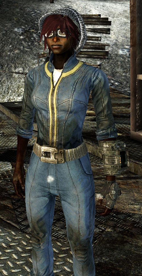 Fallout Lone Wanderer (Athena Griffin) Vault jumpsuit and motorbike goggles