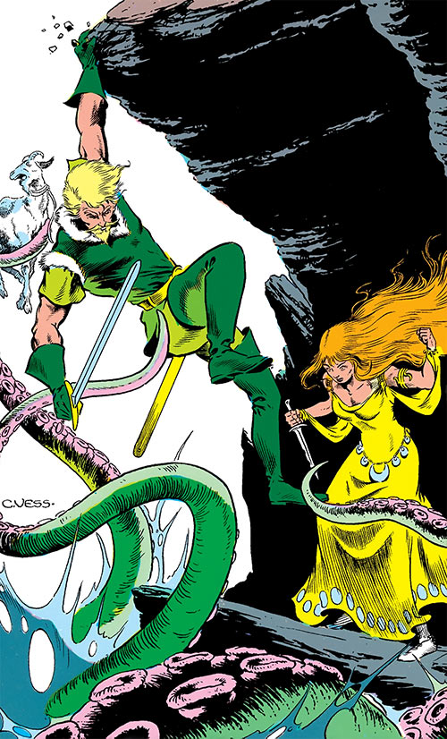 Fandral the Dashing (Thor ally) (Marvel Comics) fighting on a cliff with a damsel