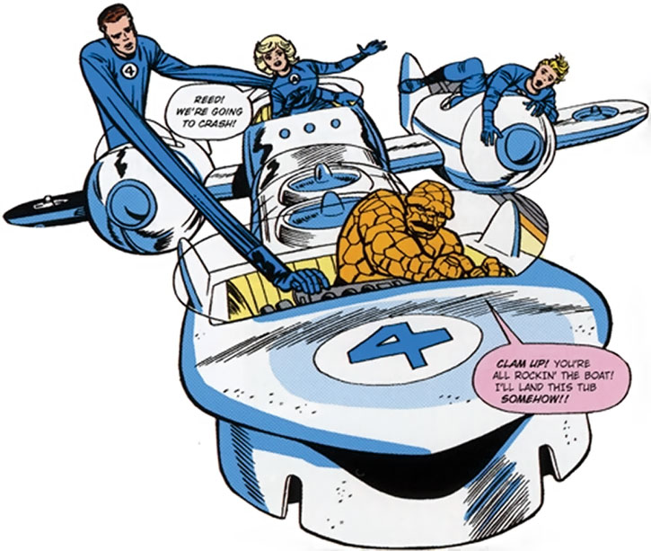 The Fantastic Four in the classic Fantasticar