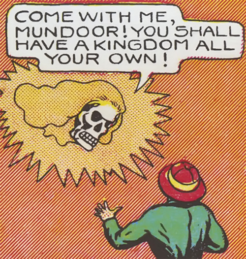 Fantomah threatening in flying skull with hair form