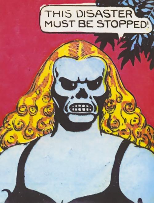 Fantomah blue skin and skull head closeup