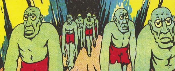 Green zombie-like humanoids