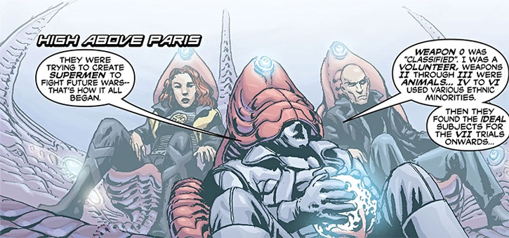 Fantomex flying EVA, with Jean Grey and Professor X