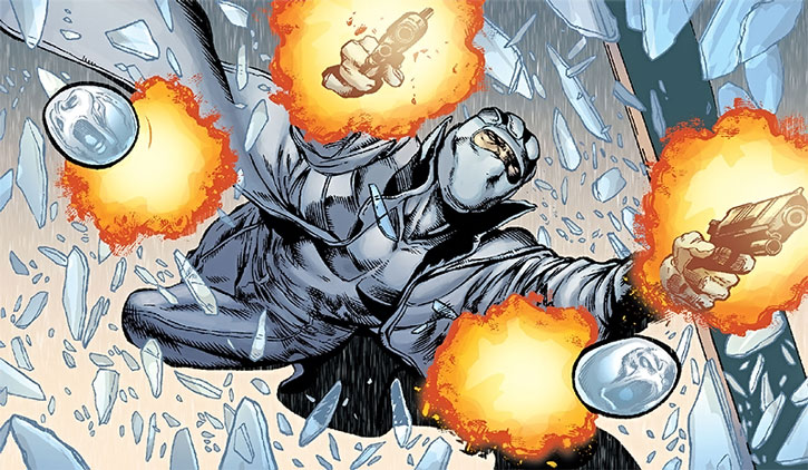 Fantomex bursts through a window, shooting his pistols